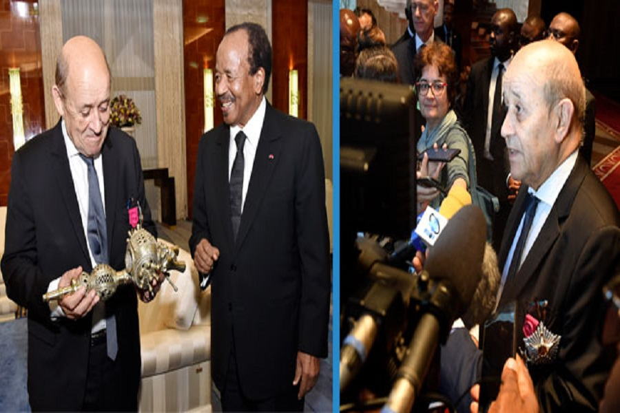 Diplomatie : Jean Yves Le Drian reçu et décoré par le président Paul Biya